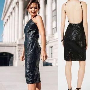 ADRIANNA PAPELL New Sequin Halter Midi Dress XS S